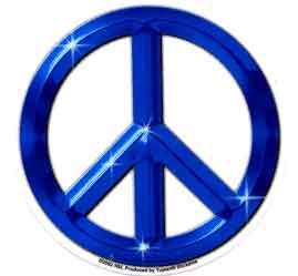 Blue Chrome Peace Sign Sticker Leeway S Home Grown Music